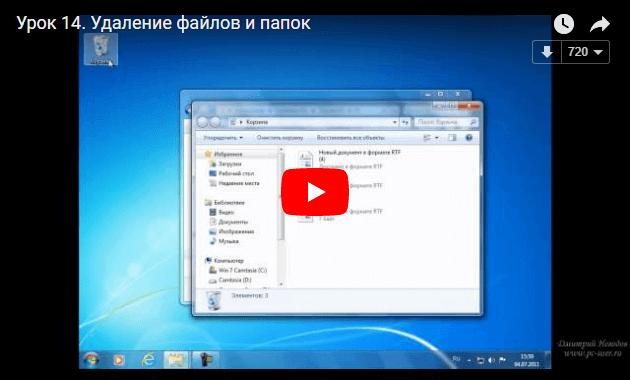 Удаление файлов и папок в Windows 7