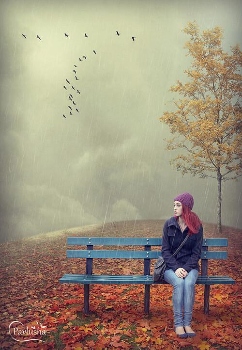 Осенняя картинка с девушкой и дождем