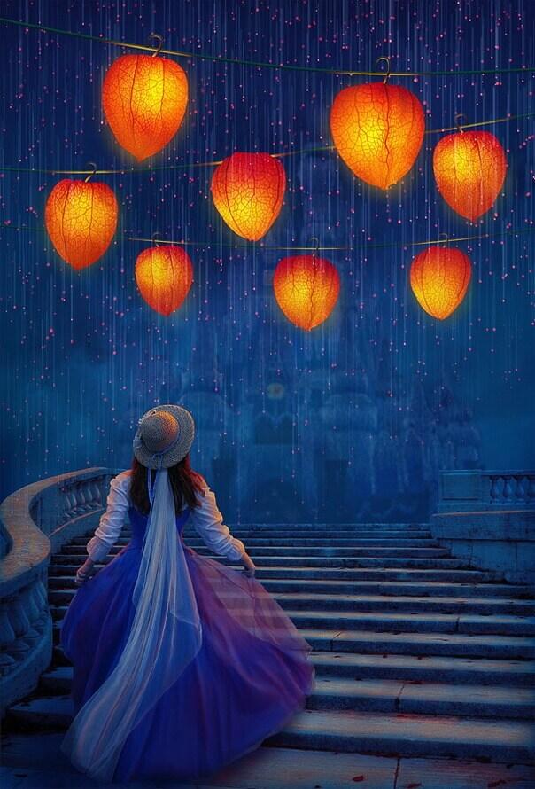 Коллаж 1. Волшебные фонарики