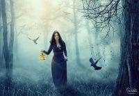 Коллаж с лесной колдуньей