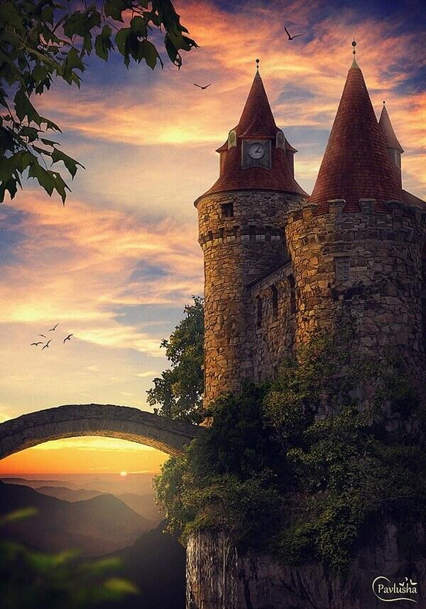 Коллаж с замком на холме