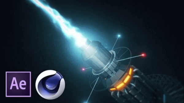 Композиция с плазменной sci-fi пушкой