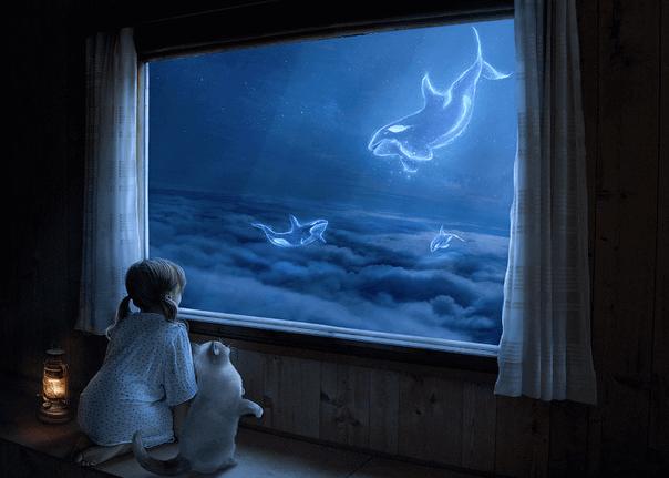 коллаж с маленькой девочкой у окна