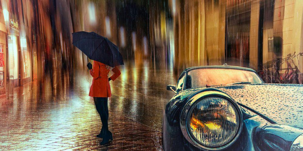 Коллаж с дождем в городе