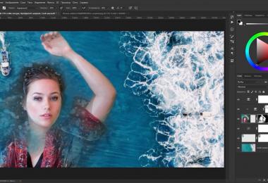 Коллаж с девушкой в воде